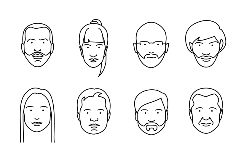 Different faces of people drawn with a thin black line only.