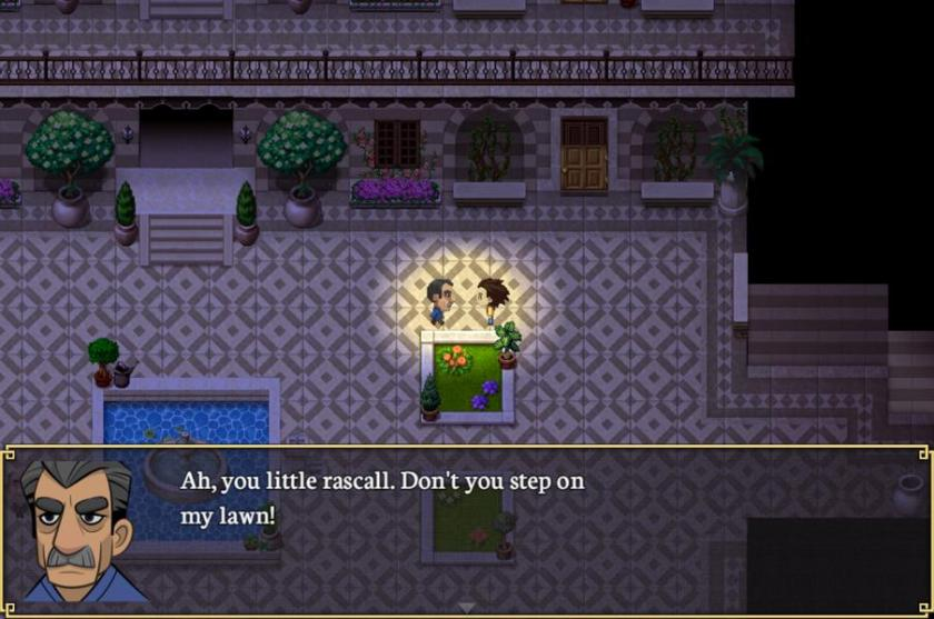 In this in-game screenshot the main protagonist, Abdullah, is talking to another character. It is dark and they are in the yard of a beautiful house. There is a dialog window open and the neighbour is shown saying: